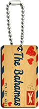 Graphics and More Air Mail Postcard Love for The Bahamas Wood Wooden Rectangle Key Chain