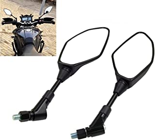Universal Motorcycle Mirror Rearview Mirror, For Yamaha Suzuki Honda Kawasaki Aprilia BMW Ducati, Widely suitable - With 8mm 10mm clockwise/reverse threaded bolts