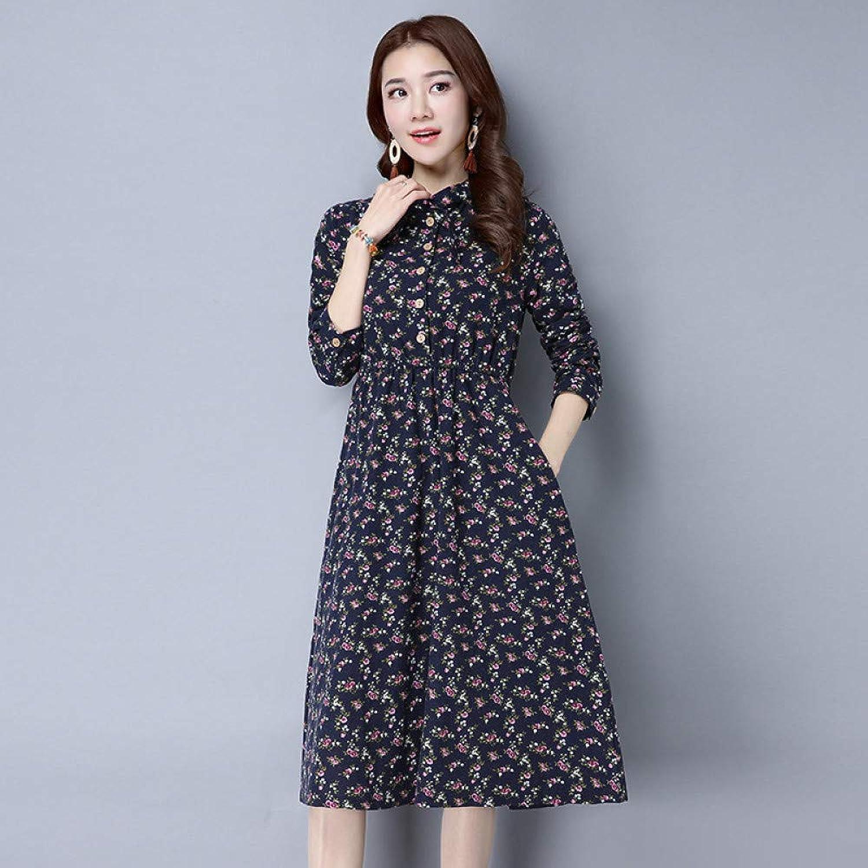 Cxlyq Dresses Autumn Floral Cotton Cheongsam Dress Early Autumn Skirt Women's Clothing