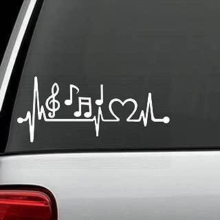 Bluegrass Decals K1096 Music Notes Heartbeat Lifeline Monitor Decal Sticker