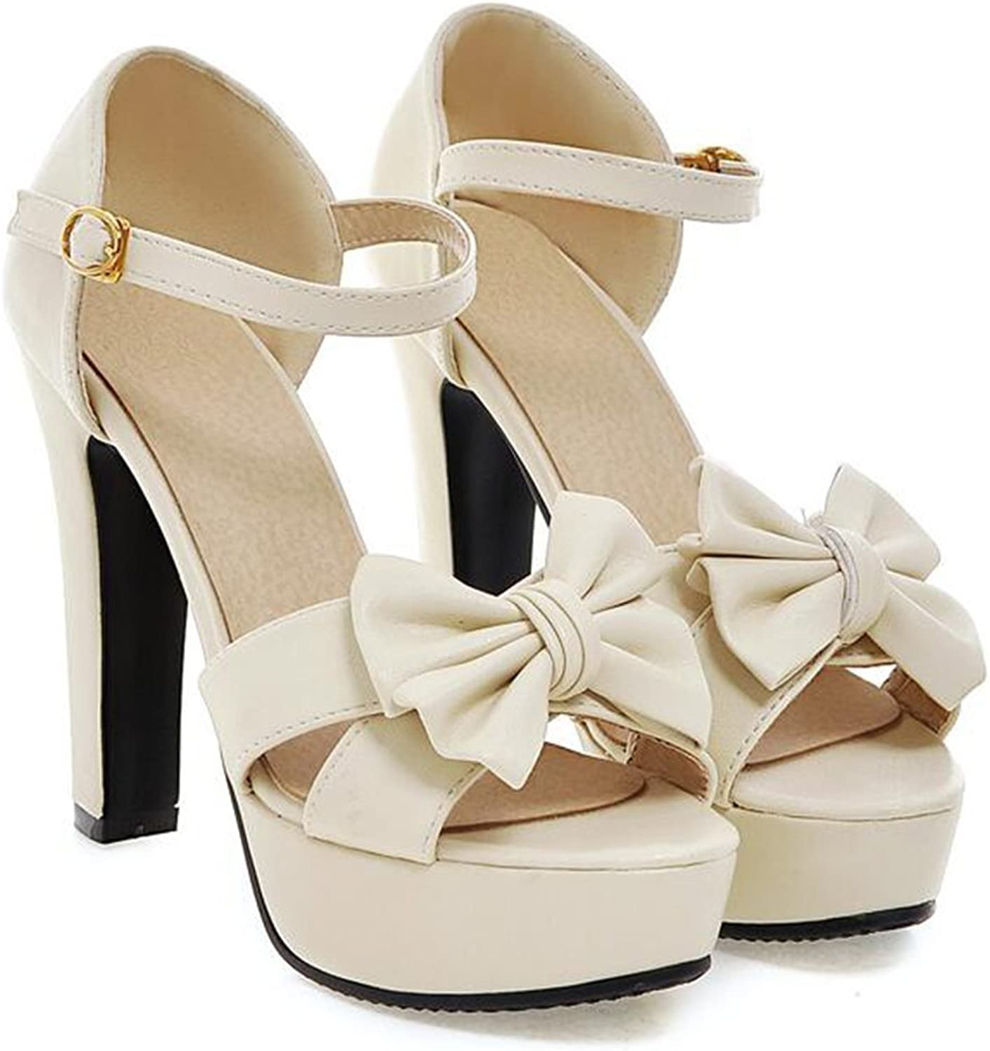 Colnsky Women's Sexy Bowknot Ankle Strap Platform Sandals Chunky High Heel Summer shoes