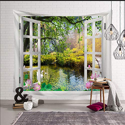 mmzki Nordic hängen Kunst Wandteppich Wandteppich Hauptdekoration Wandbild Fenster LS-CW0027 95x73