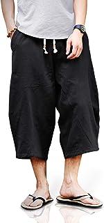 Sponsored Ad - TOTNMC Men's Baggy Linen Capri Pants Casual Yoga Patchowork Beach Pants with Drawstring
