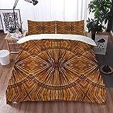 Juego de Fundas de edredón,Tribal Boho Bamboo Pattern Primitive Eastern Jagged Wood Style Print,Fundas Edredón 135 x 200 cmcon 1 Funda de Almohada 40x75cm