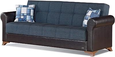 Amazon.com: Casamode Armada Sofa Emerald Blue Microfiber ...