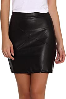 women's black leather skirt