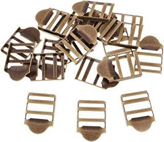 IPOTCH 20Pcs Metal Webbing Belt Ribbon Buckles Luggage Strap Adjuster 2 Bars Sewing - Bronze, 2.4 x 1.6cm
