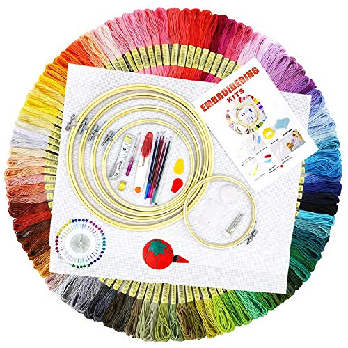 BOZHZO Kit de Broderie, Kit D'outils de Point de Croix Debutant, 100 Fil Multicolores 5 Tambour à Broder 3 Tissu Brodé avec Les Autres Outils Accessoires pour Point de Croix Tricotage