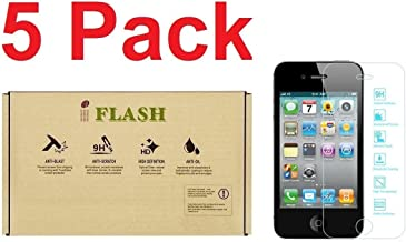 iFlash [5 Pack Tempered Glass Screen Protector for Apple iPod Touch 4th Generation - Transparent Crystal Clear / 2.5D Rounded Edges / 9H Hardness/Scratch Proof/Bubble Free/Oleophobic