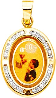 18mm x 14mm Accented with Channel Set White CZ Stones 14k Yellow Gold Religious First Communion Picture Charm Pendant