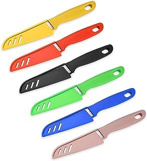 Lot de 6 petits couteaux de cuisine tranchants et durables avec housse de protection, adaptés à la plupart des types de lé...