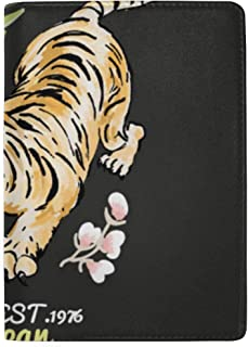 Embroidered Tiger Patterns and Roses Blocking Print Passport Holder Cover Case Travel Luggage Passport Wallet Card Holder Made with Leather for Men Women Kids Family