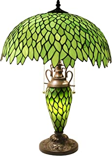 Tiffany Style Table Lamp 24 Inch Tall 3 Light Pull Chain Green Wisteria Stained Glass Lampshade Beside Desk Lamp Antique Base for Living Room Coffee Table Bedroom S523 WERFACTORY