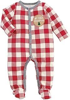 Kids Baby 1st Christmas Buffalo Check 1 Pc Sleeper Set Pajamas