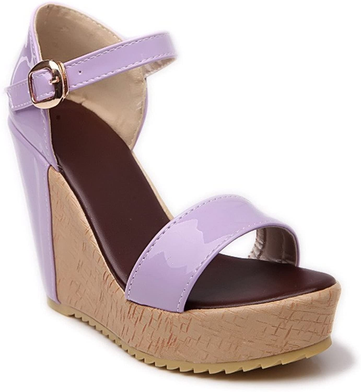 AmoonyFashion Womens Open Toe High Heel Wedge Platform Patent Leather PU Sandals with Assorted colors, Purple, 7.5 B(M) US