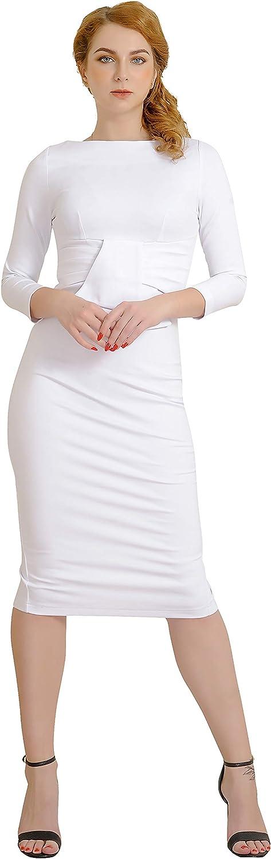 Sale Marycrafts Women's Work Office Business Neck Midi Square Sheath 5 ☆ very popular