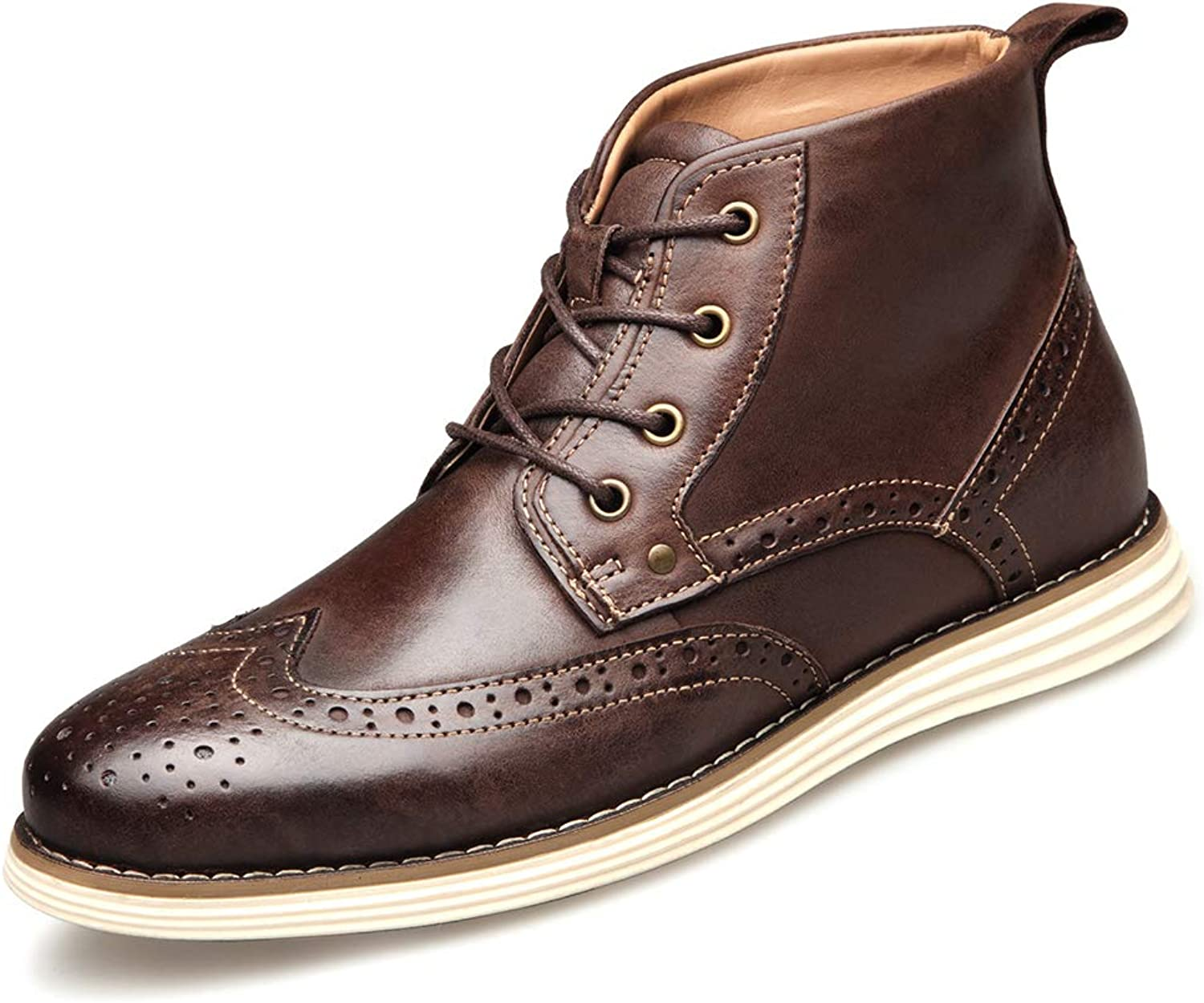Men's Leather Cap Toe Lace Up Winter Casual Dress Boot Classic Comfortable Dress shoes for Men