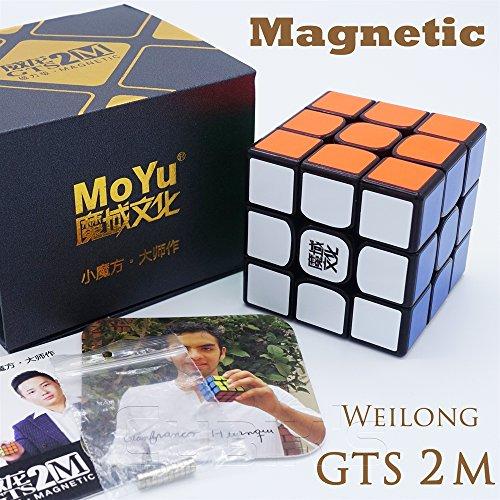 Moyu MAGNETICO *Weilong GTS v2 M* - Magnetizado 3x3 Profesional & Competencia Cubo de Velocidad Magic Cube Rompecabezas 3D Puzzle - Black