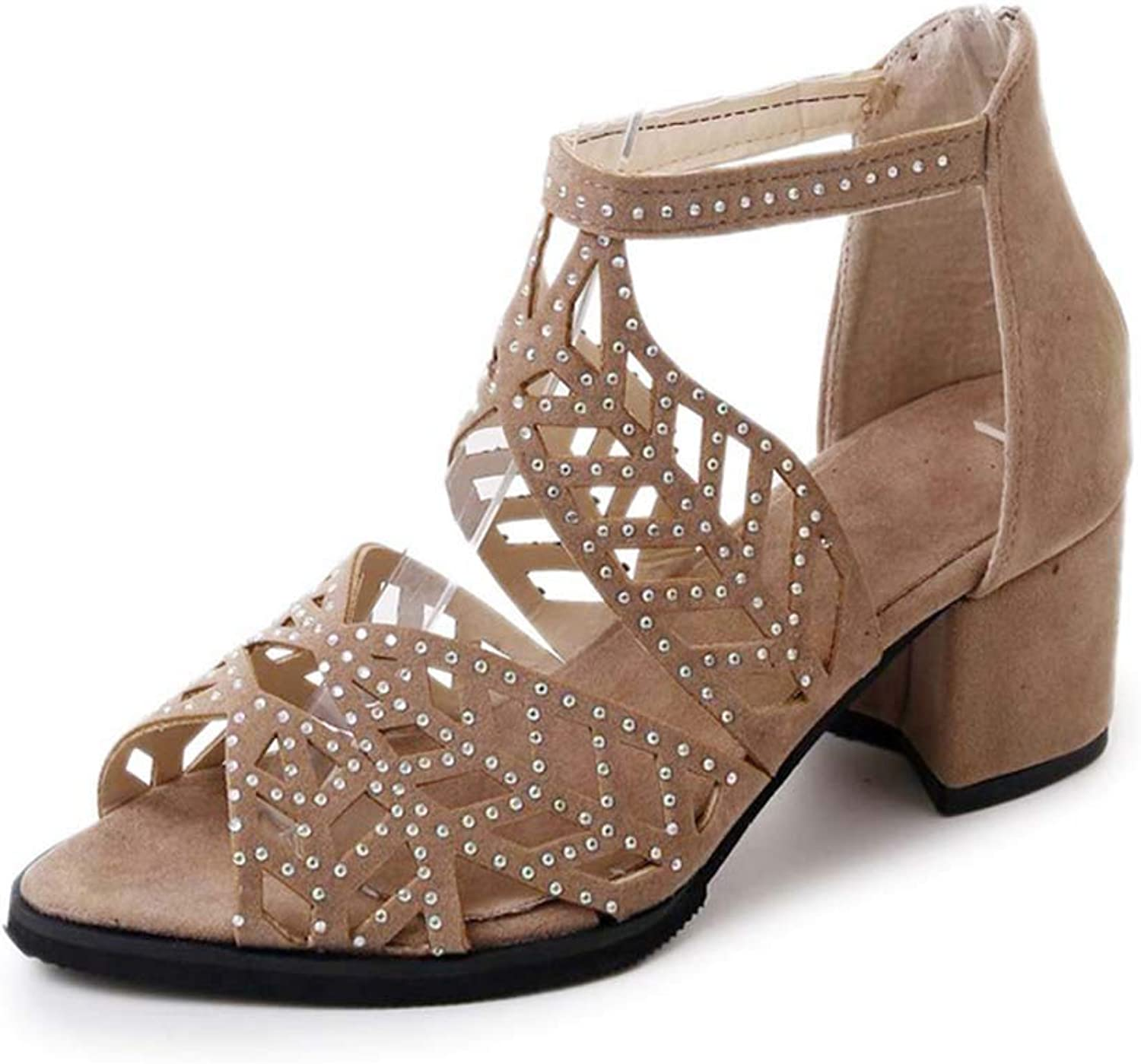 Women's Sandals Suede Open Toe Hollow Sandals mid Heel Rhinestones Decorative Fashion Single shoes Spring and Summer New