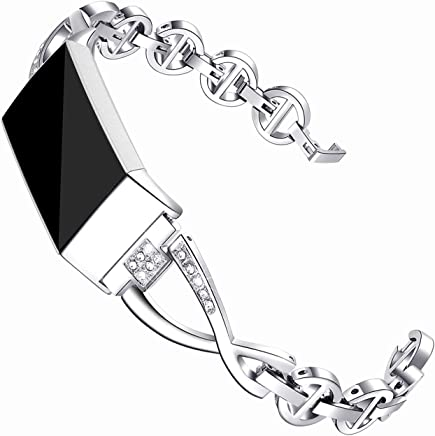 Maccasing Compatible Charge 3 Bands for Women - Metal Replacement Wristbands/Accessories Bracelets/Bangle Compatible Charge 3 SE with Bling Rhinestone Silver Black