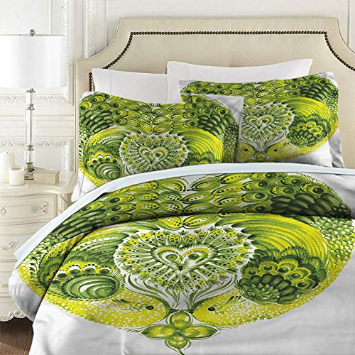 Comforter Bedding Set 3 Piece Set Boho Heart Shaped Peacock Feathers Comforter Cover Soft Breathable Full Size