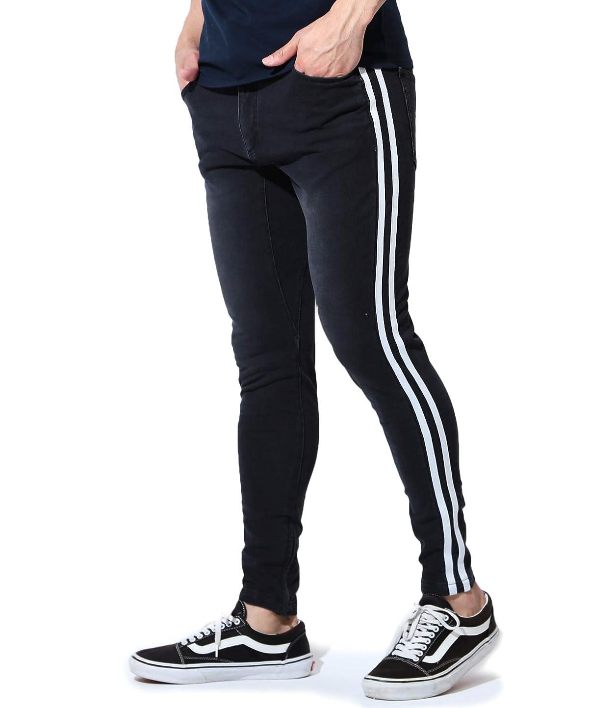 マカダムサポートコントローラJIGGYS SHOP スウェットデニムパンツ メンズ ジョガー パンツ 裾ジップ スリム 細身 スキニー サイドライン