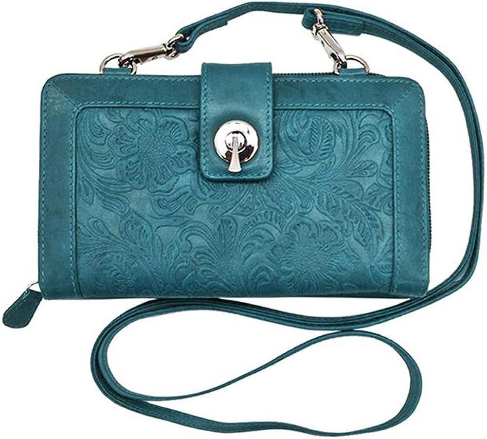 ili New York 6305 Leather Embossed Smartphone Crossbody Wallet with RFID Blocking Lining