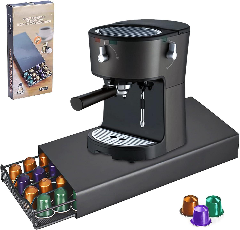 Amzeeniu Soporte para Cápsulas Nespresso40 x Cápsulas,Dispensador de Cápsulas de Café,Soporte para Máquina de Café con Organizador de Cápsulas,Cajón para Almacenar Cápsulas de Café Portacápsulas Acero