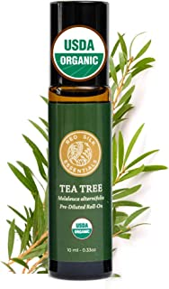 Red Silk Essentials USDA Organic Tea Tree Essential Oil Roll on, Pure Natural Aromatherapy for Skin Care - 10 ml