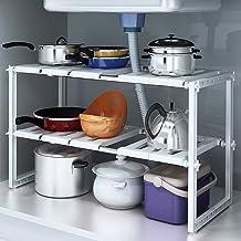 JPL Étagère de rangement pour la cuisine domestique, 2 niveaux extensible sous le support de l'organisateur de l'évier, su...