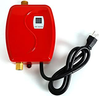 Mini Electric Hot Water Heater 110V 3000W LCD Digital Display Tankless Instant Hot Water System for Hotel Bathroom Kitchen Washing Faucet (Red)