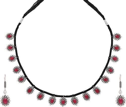 German Silver Oxidised Handmade Dori Work Thread Charm Tribal Look Choker Necklace Set Jewellery Set for Women Oxidised Silver Black YCTJNS 36OXDTHRF BK ALT