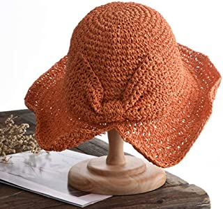 QYJpB-Hats Ladies Sun Hat, Panama Straw Hat,Summer Sun Beach Straw Hat Floppy Foldable Wide BrimGardening Hiking Hat (Color : Orange)