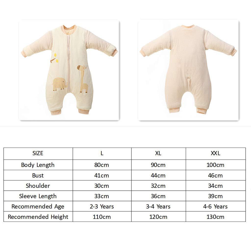 Baby Schlafsack mit Abnehmbare Langarm,mit Beinen,Kinder Schlafsaecke,Winter verdickte 3.5 Tog L