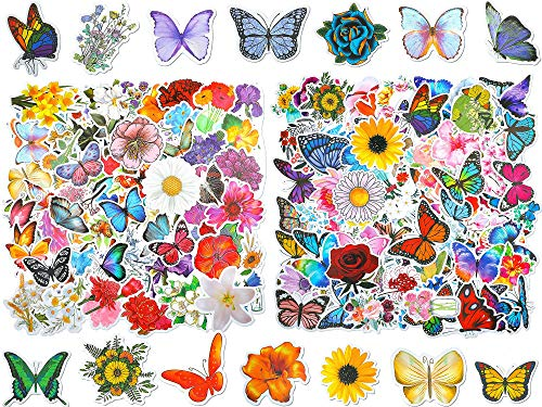 200 Pieces Mixed Butterfly Flower Vinyl Stickers Waterproof Laptop Stickers for Water Bottles Cute Decals for Travel Luggage Skateboard Guitar Adults Teens, 4 Styles