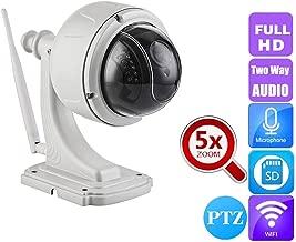 FZOON Sony323 HD IP Camera Dome 5X PTZ Wireless WiFi 1080P Video Surveillance Night Security Camera Two Way Audio Talk SD Slot,1080p with 128G Card,UK Plug