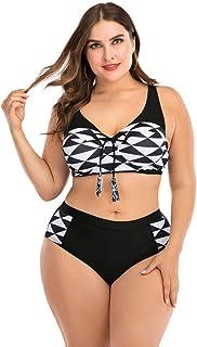 LANSKIRT Conjunto de Bikini Dos Piezas Anudado Bañadores para Gorditas 2020 Ropa de Playa Casual Trikini Biquini Vikinis Baño Ropa de Verano Cintura Alta L-4XL
