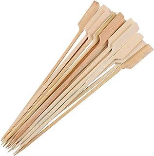 Space Home - Brochetas de madera - Pinchos de Bambú para Aperitivos - Palillos de comida con Mango - 18 cm - 60 unidades