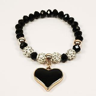 Bracciale per donna elastico con ciondolo a cuore di colore nero