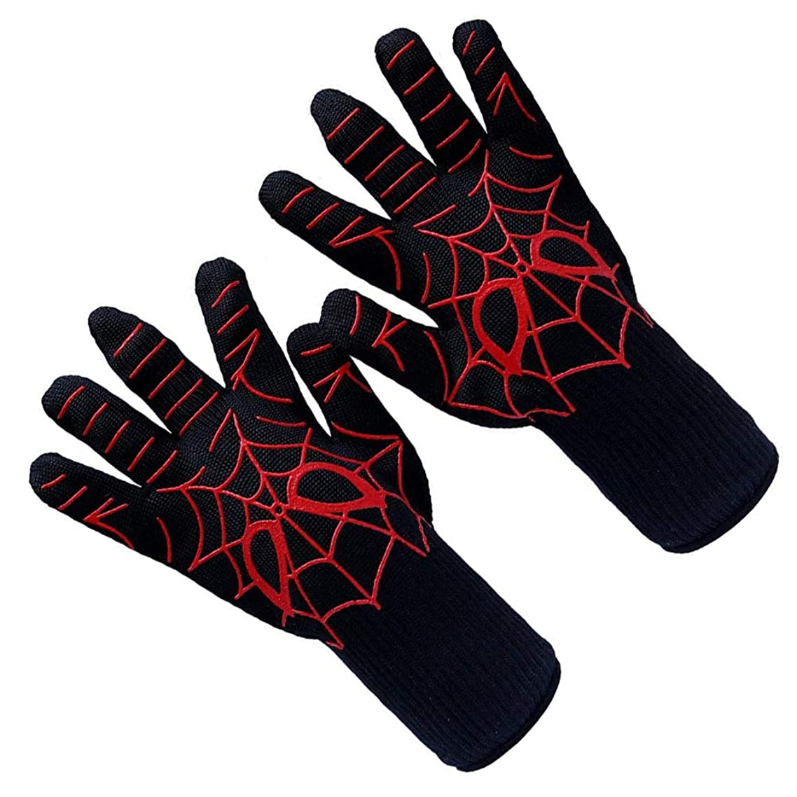 2Pcs Silicone Heat Resistant Grilling Glove Forearm Protection Insulated Oven Mitt for Oven Mitts, Pot Holders Grilling Red-Black