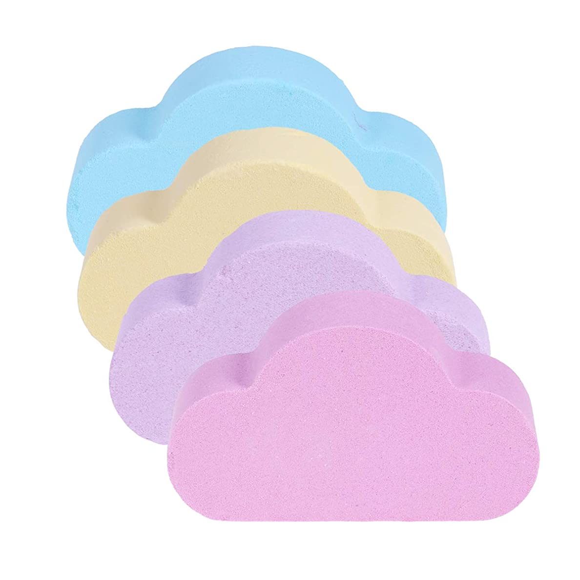ラベンダーごちそう啓発するSUPVOX 4本入浴爆弾エッセンシャルオイルクラウドシェイプ塩バブル家庭用スキンケア風呂用品用バブルスパ風呂ギフト(カラフル)