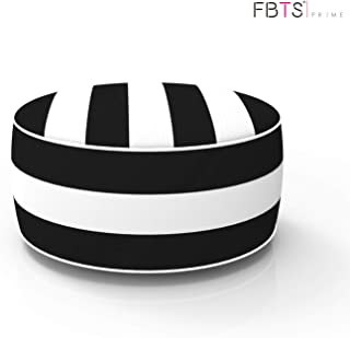FBTS Prime Outdoor Inflatable Ottoman Black and White Stripe Round 21x9 Inch Patio Foot Stools and Ottomans Portable Travel Footstool Used for Outdoor Camping Home Yoga Foot Rest