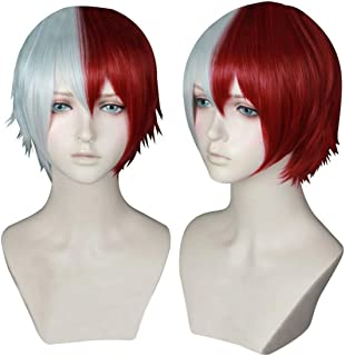 NiceLisa Unisex Short White Red Mixed Hairs School Boy Teen Academia Anime Hero Style Cosplay Costume Party Wigs