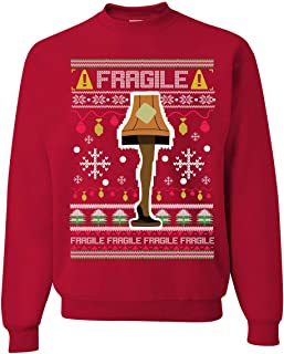 Wild Bobby Fragile Leg Lamp Christmas Story Funny Xmas | Mens Ugly Christmas Sweater Crewneck Graphic Sweatshirt