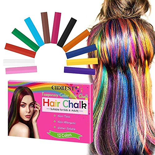Hair Chalk, Temporary Hair Chalk, Hair Chalk Pens, Washable Hair Color, Fun DIY Gifts on Birthday, Holiday, Costume Cosplay Party, Safe for Kids & Adults, 12Colors