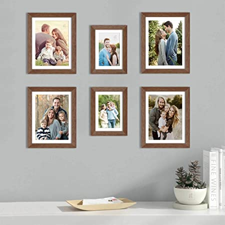 Art Street Set of 6 Brown Wall Photo Frame, Picture Frame for Home Decor with Free Hanging Accessories (Size -6x8, 8x10 Inchs)