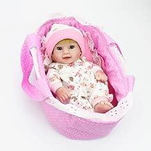 Kaydora 10 inch Full Silicone Reborn Baby Lifelike Blonde Hair Girl Dolls with Cradle