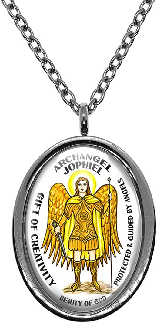 Touched By The Saints Archangel Jophiel Gift of Creativity Beauty of God Steel Pendant Necklace