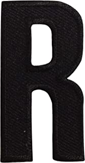 R Letter Alphabet English Iron on Patches Embroidered Black