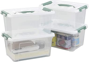 Readsky 5 Litre Plastic Clear Storage Bins with White Lids and Greyish Green Handles, 2 Packs